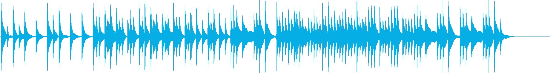 ハープの音で作ったリラックス出来そうな曲の再生済みの波形