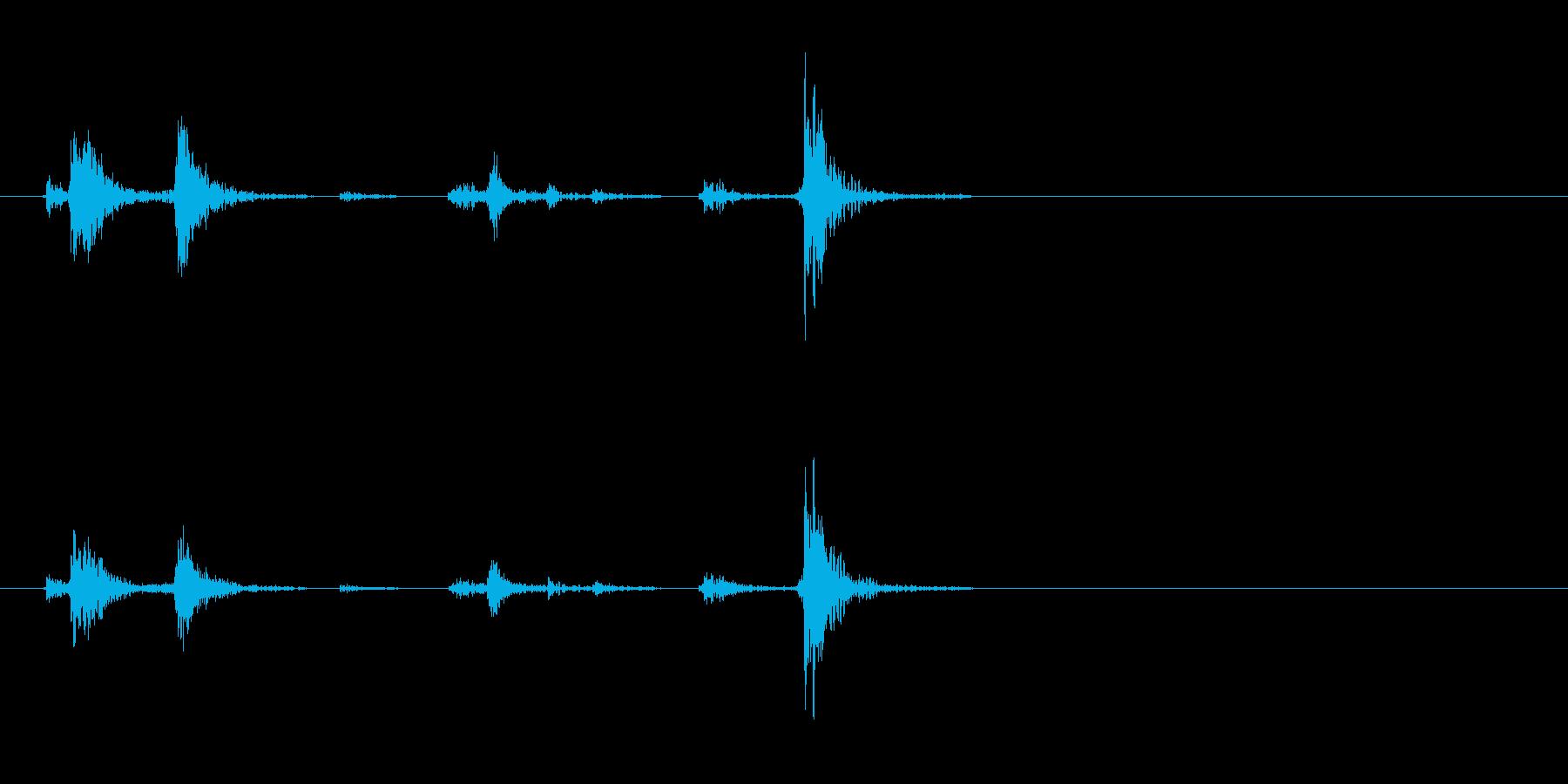 カセットデッキ 再生ボタン 押下音の再生済みの波形