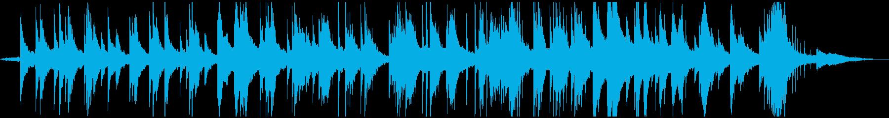 雨音とピアノソロの切ない雰囲気のBGMの再生済みの波形