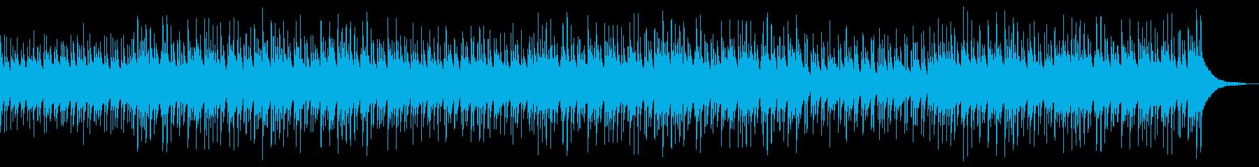 ウクレレ、ピアノ、ギターの明るい楽曲の再生済みの波形