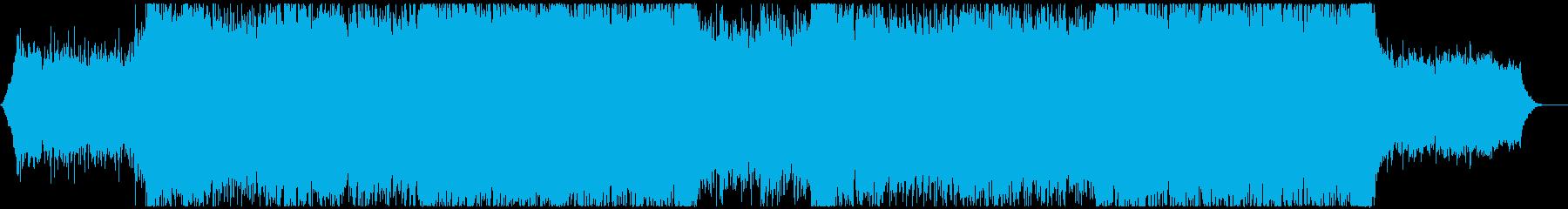 映像にエレキギターのワイルドなロックの再生済みの波形