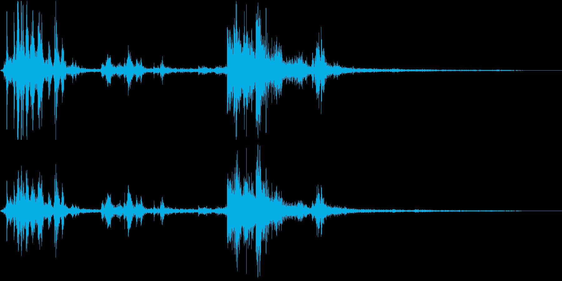 【自然音】カミナリ+雨「ゴロゴロ」の再生済みの波形