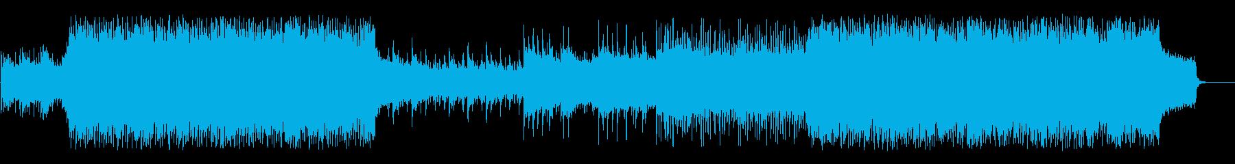 シリアスでロック感の強いトレーラー音楽の再生済みの波形