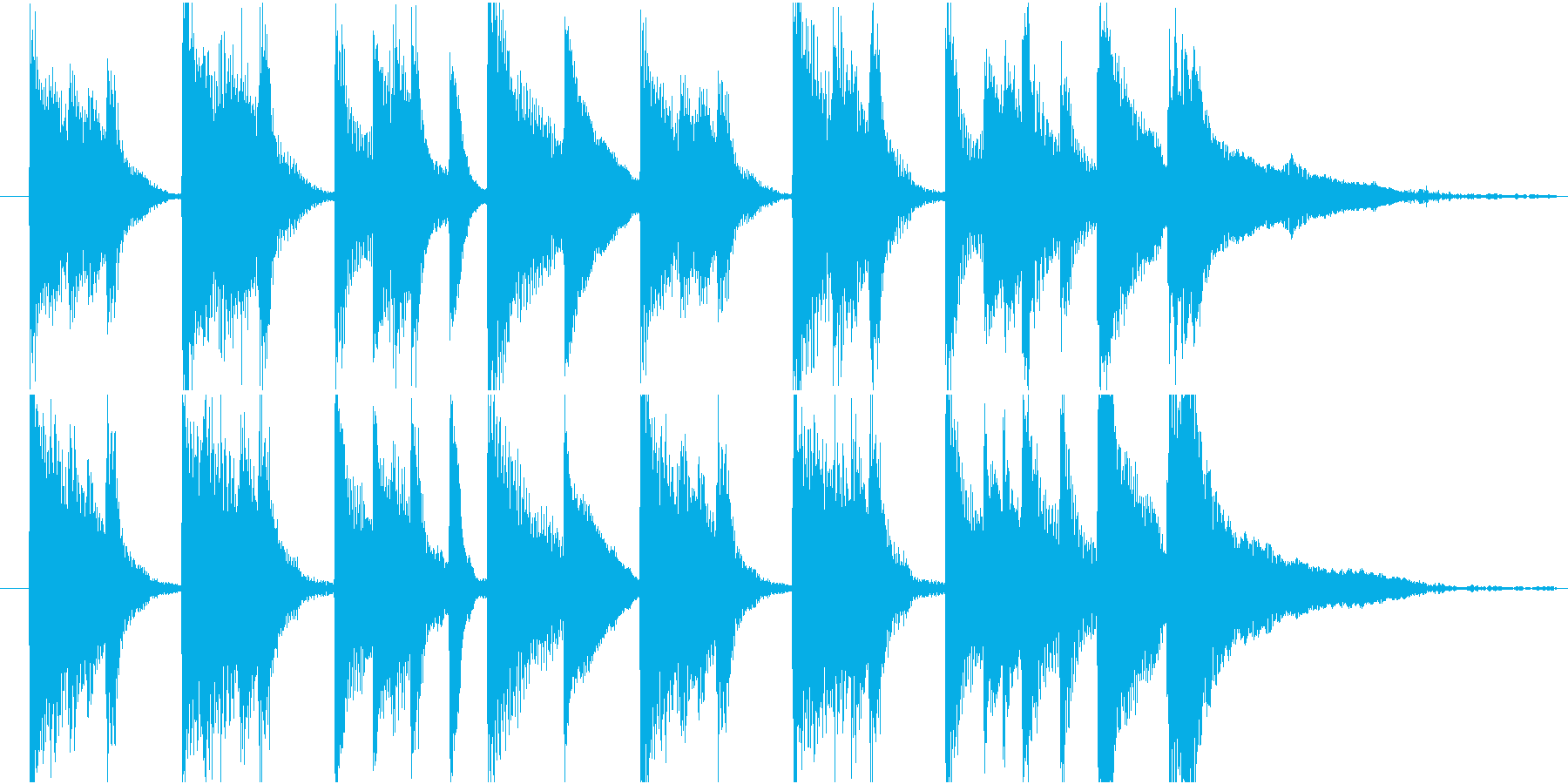 ピアノの明るく軽快なジングルの再生済みの波形