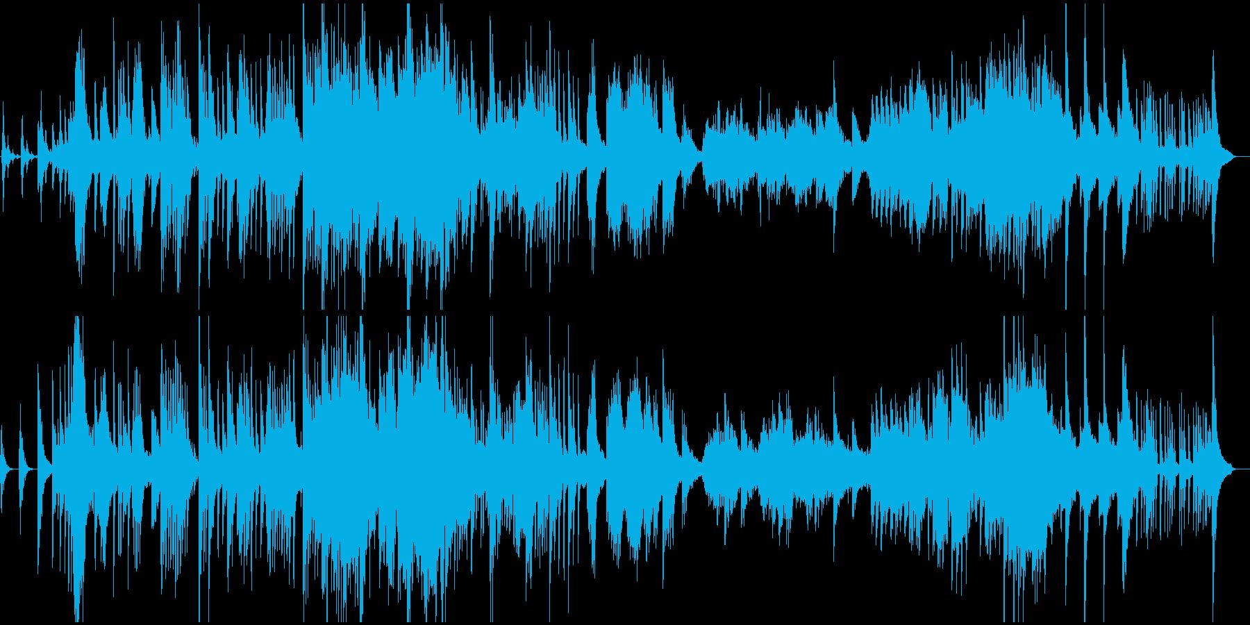 温暖地域のイメージのゆるい和風楽曲の再生済みの波形