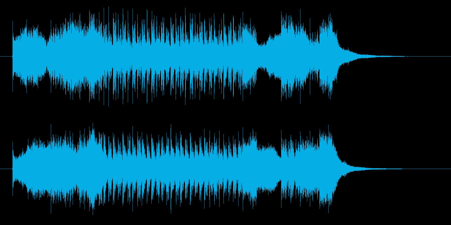 ロックなエレキと激しいドラムジングルの再生済みの波形