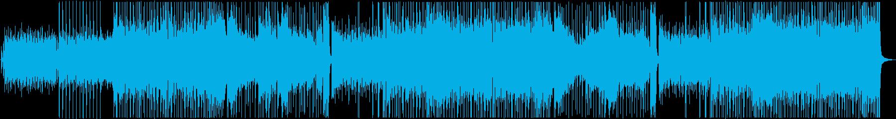 ドラムとベースのロックなBGMの再生済みの波形