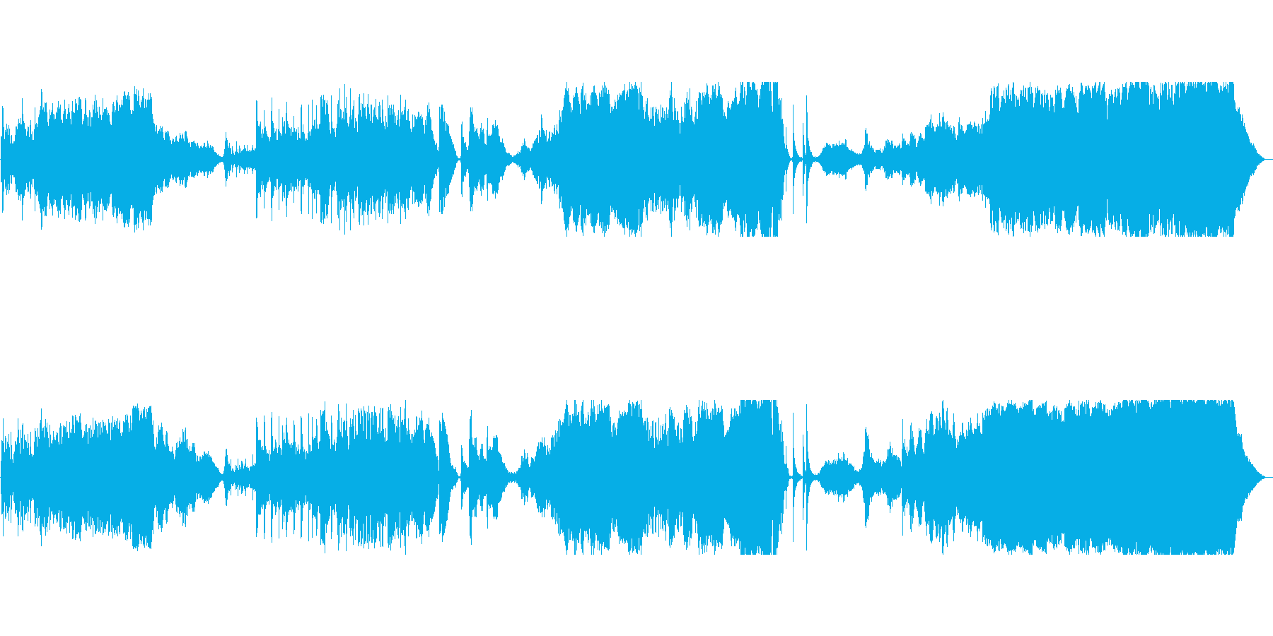 大河ドラマのような和風オーケスストラ楽曲の再生済みの波形