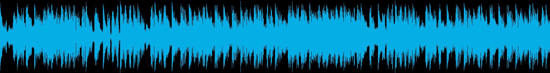 淡々としたリズムを刻む楽曲です。の再生済みの波形