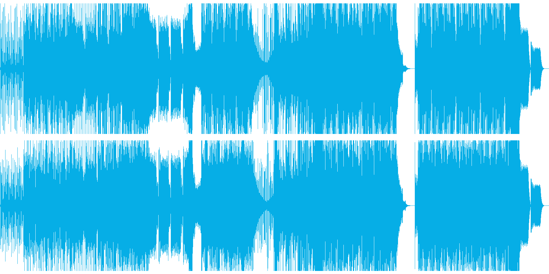 躍動感、疾走感のファンクなベースのBGMの再生済みの波形