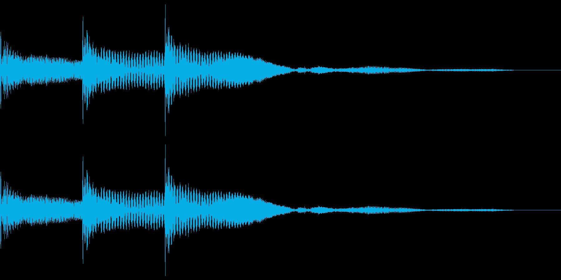 木琴で作った「決定」「選択」の効果音の再生済みの波形