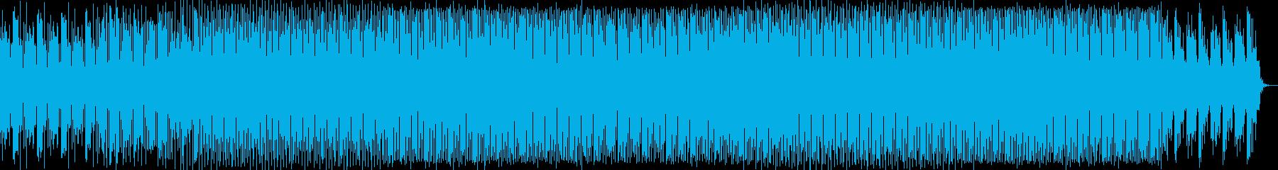 先鋭的な4つ打ちのテクノ音の再生済みの波形