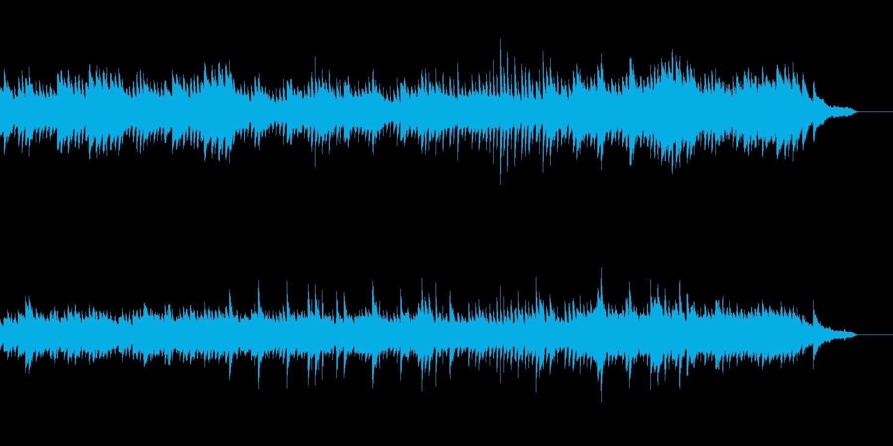 ピアノと弦楽器の悲しくて不安な曲の再生済みの波形