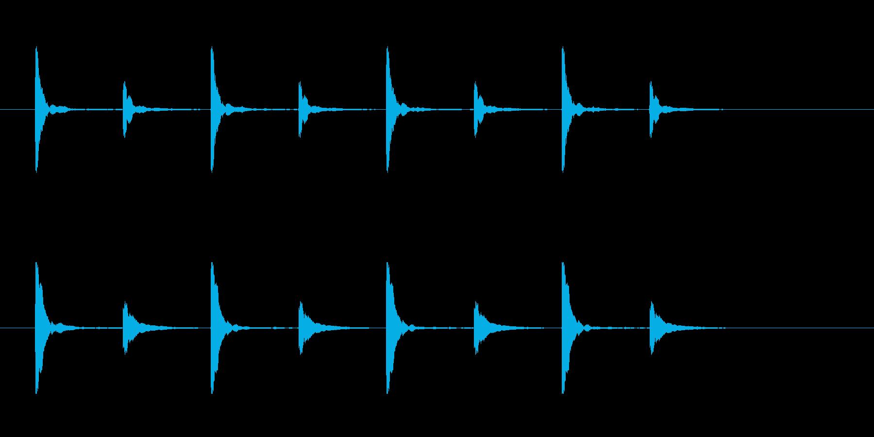 クイズ思考タイム用チックッタックッ×4回の再生済みの波形
