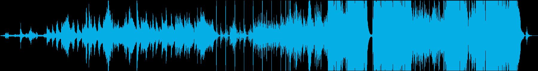 自然界の音とピアノとストリングスと電子音の再生済みの波形