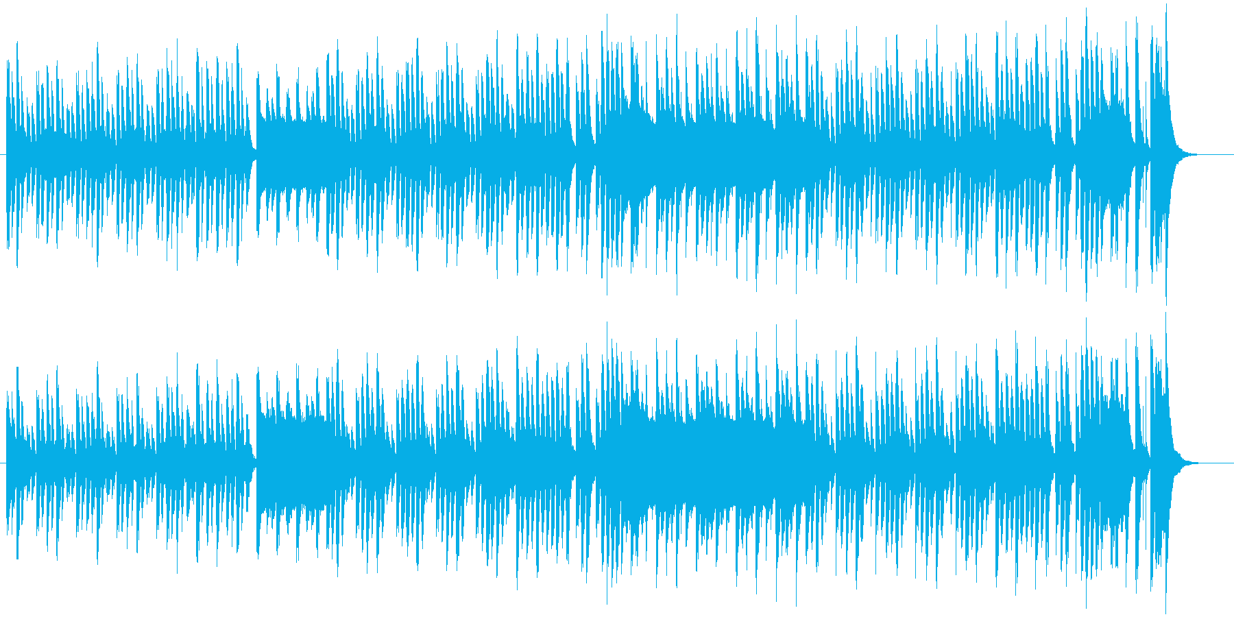 ゆっくりコツコツと組み立てていくイメージの再生済みの波形
