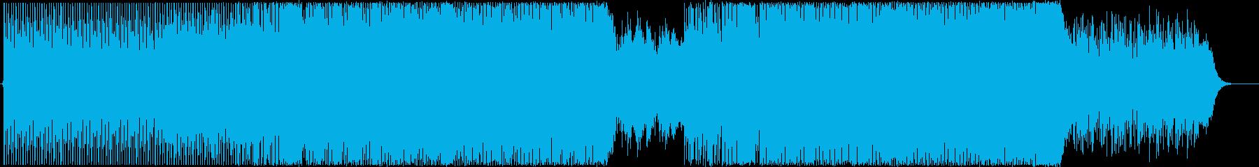 ハイテンポな感動ピアノ+シンセハウスの再生済みの波形