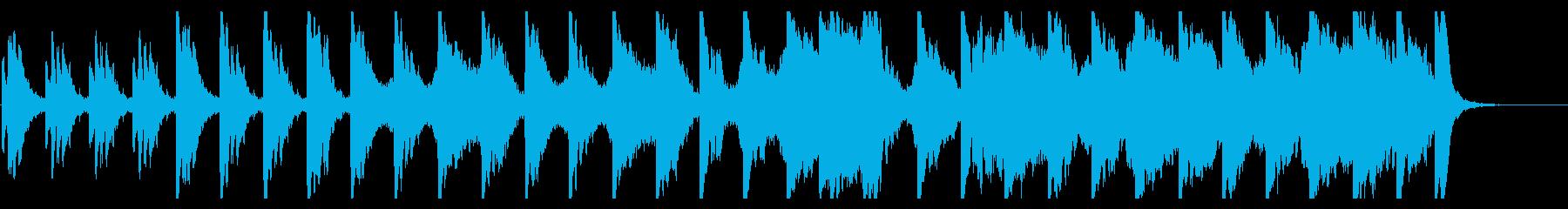 神秘的なシンセサイザーのヒーリング系楽曲の再生済みの波形