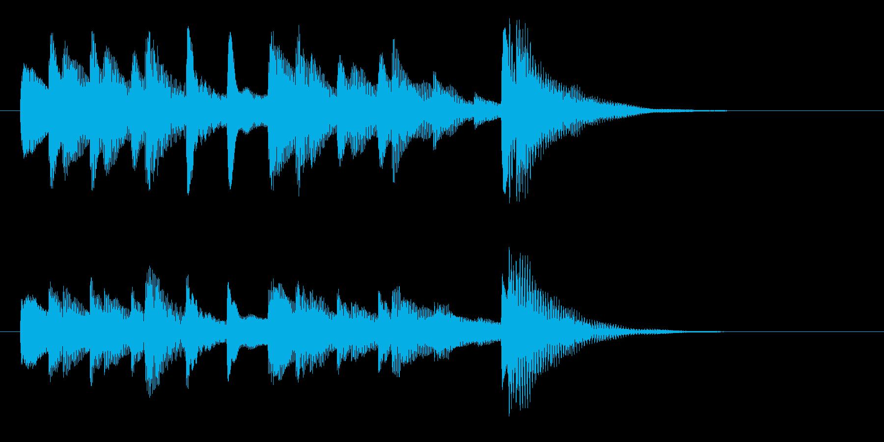 ハープの短いジングルですの再生済みの波形