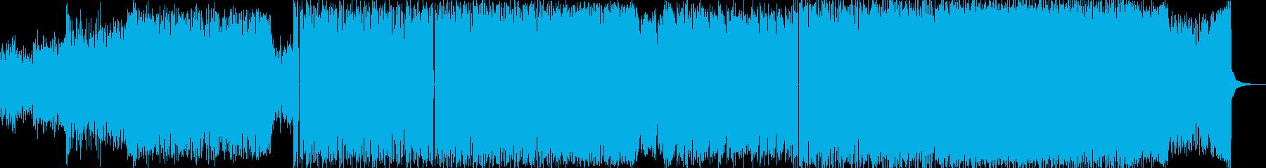 軽快なビートと重低音ベースリフの再生済みの波形