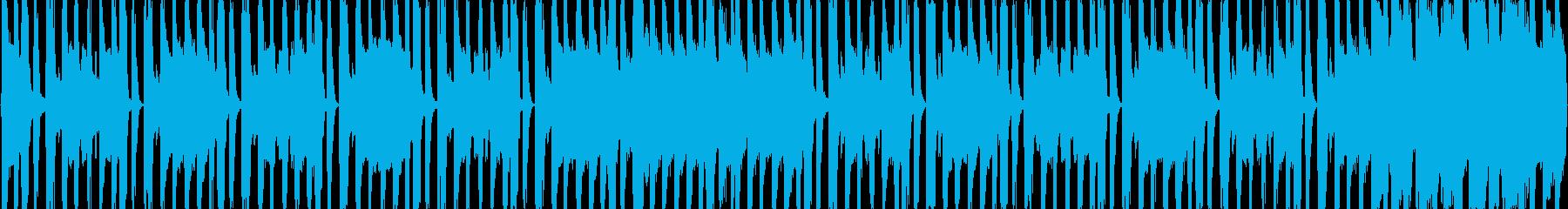 ファンキーなロックBGMの再生済みの波形