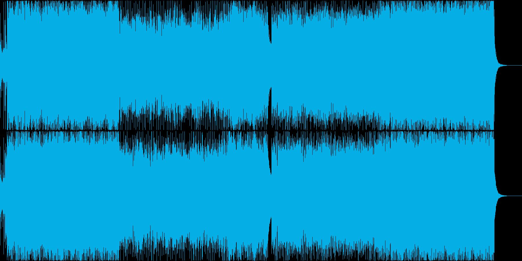 スリリングなオーケストラとロックギターの再生済みの波形