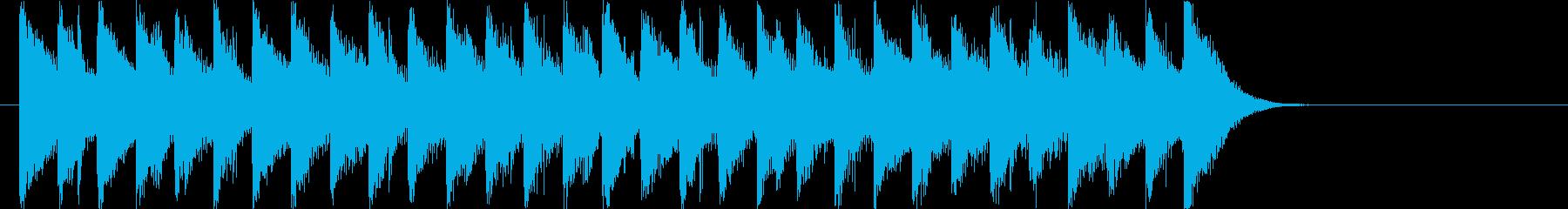 テンポの良い楽しく明るいロゴ・ジングルの再生済みの波形