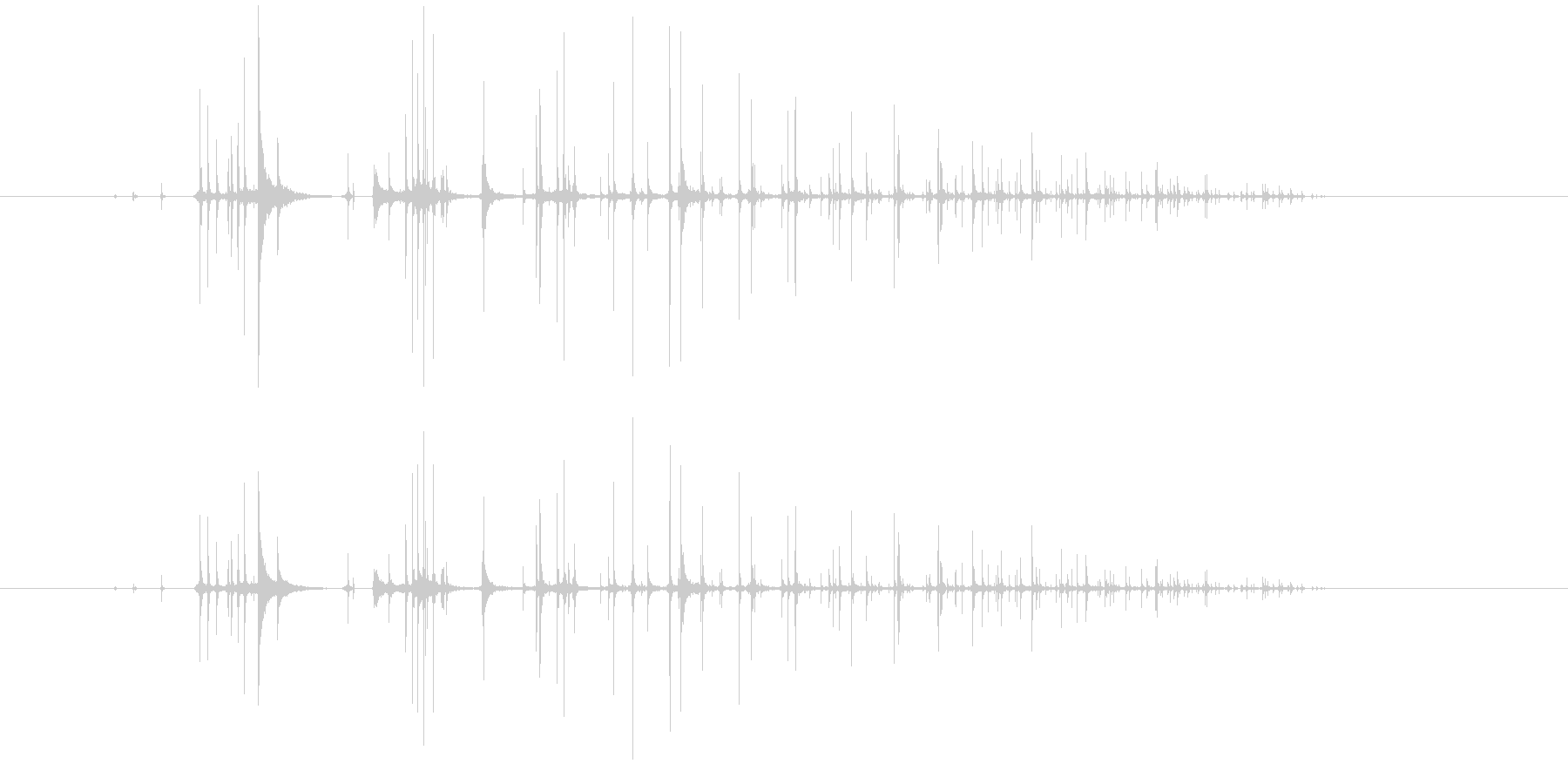 サイコロを転がす音の未再生の波形