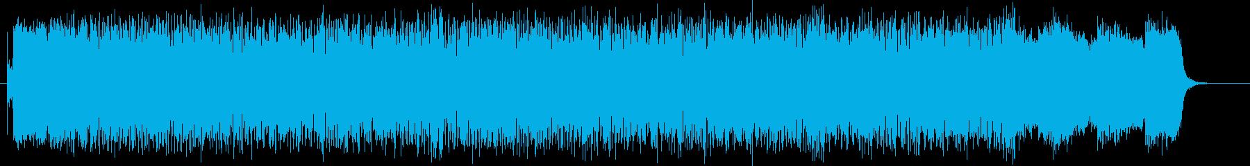 激しさ力強さを持ったシンセサイザーの曲の再生済みの波形