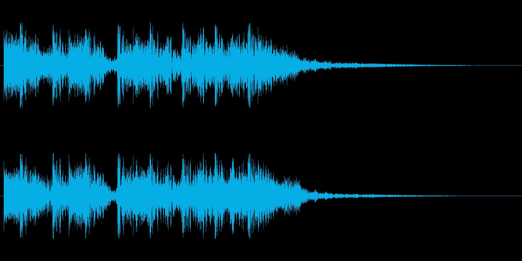 派手でリズミカルなロック風ジングル短の再生済みの波形