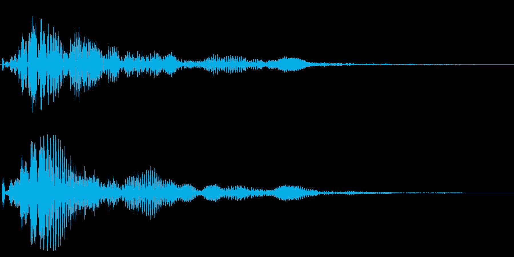 2つの音から成る落ち着いたトーンの効果音の再生済みの波形