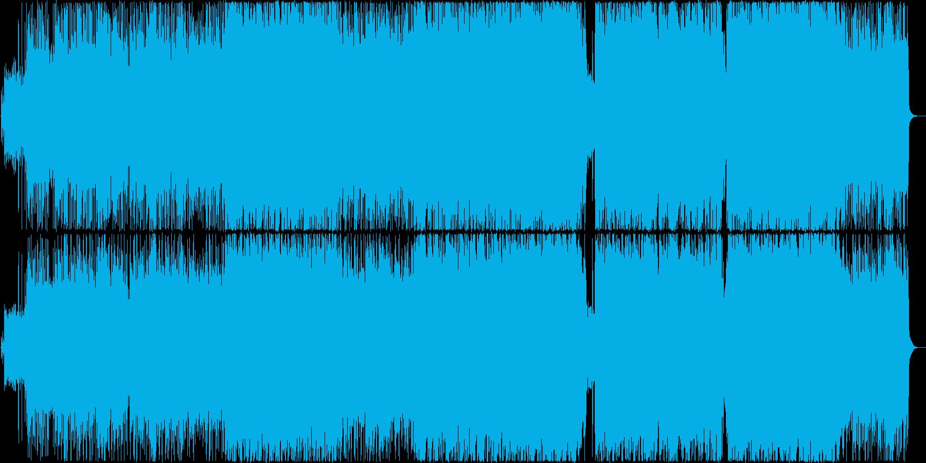 マイナー調のハードロックBGMの再生済みの波形