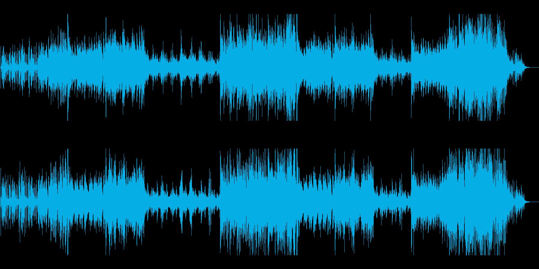 ピアノと和太鼓の華やかな現代和風BGMの再生済みの波形