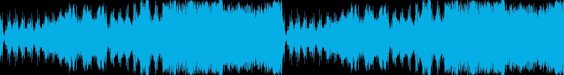 緊迫感あるローテンポオーケストラ、ループの再生済みの波形