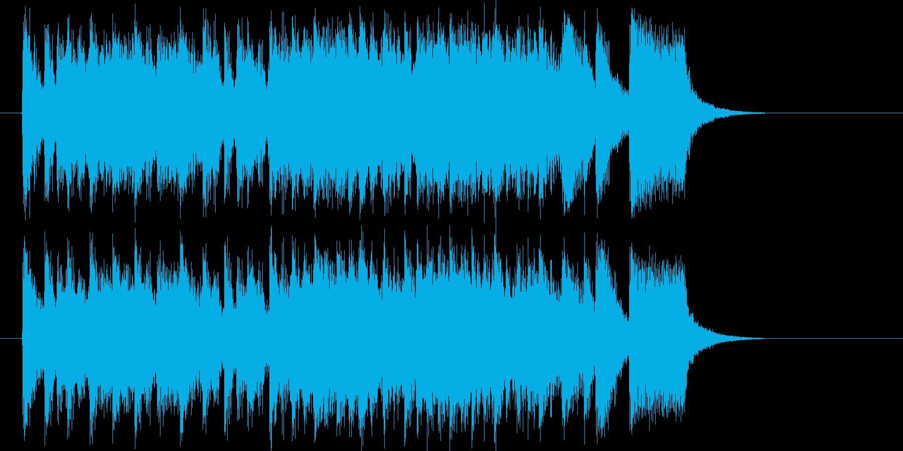 エレキギターが力強く疾走感あるロック曲の再生済みの波形