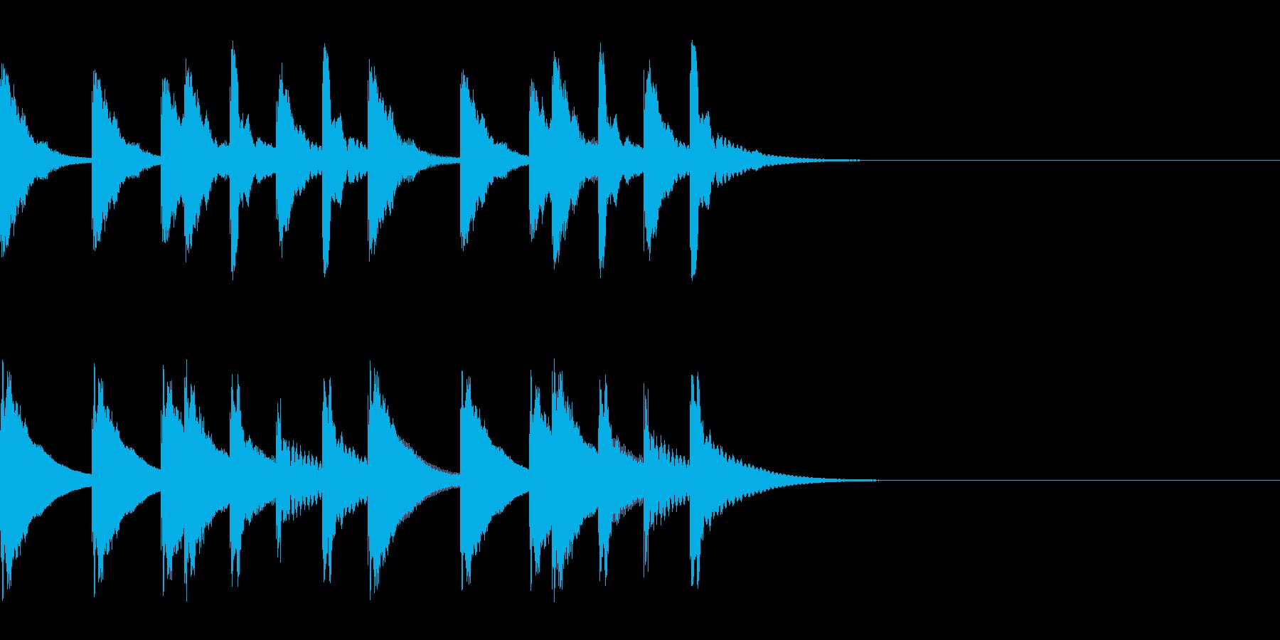ででーーんという感じの木琴のジングルの再生済みの波形