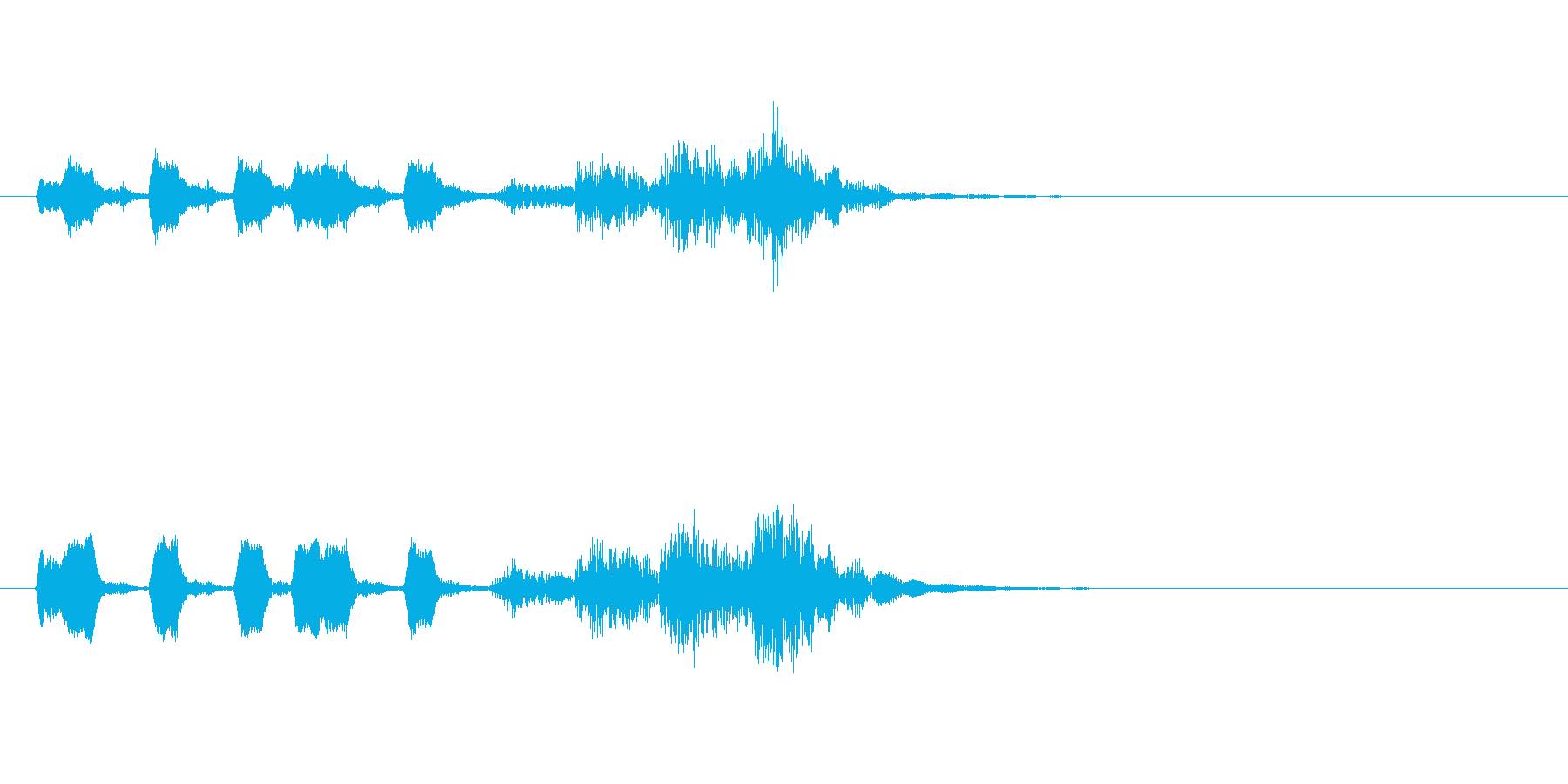 クエスト受注な曲の再生済みの波形