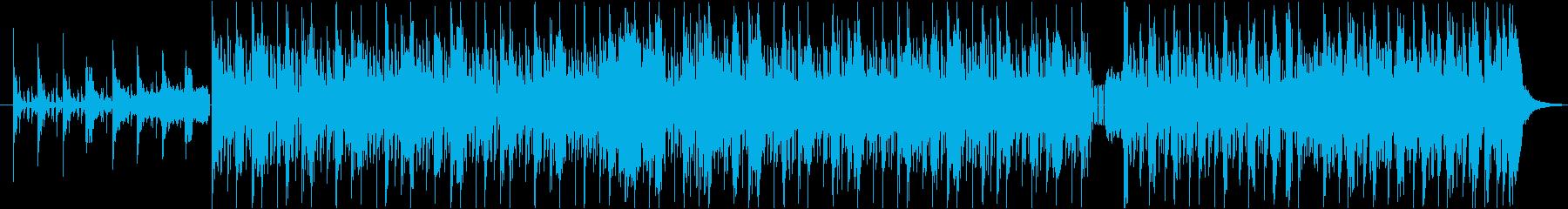 ホーンとギターの絡むヒップホップビートの再生済みの波形