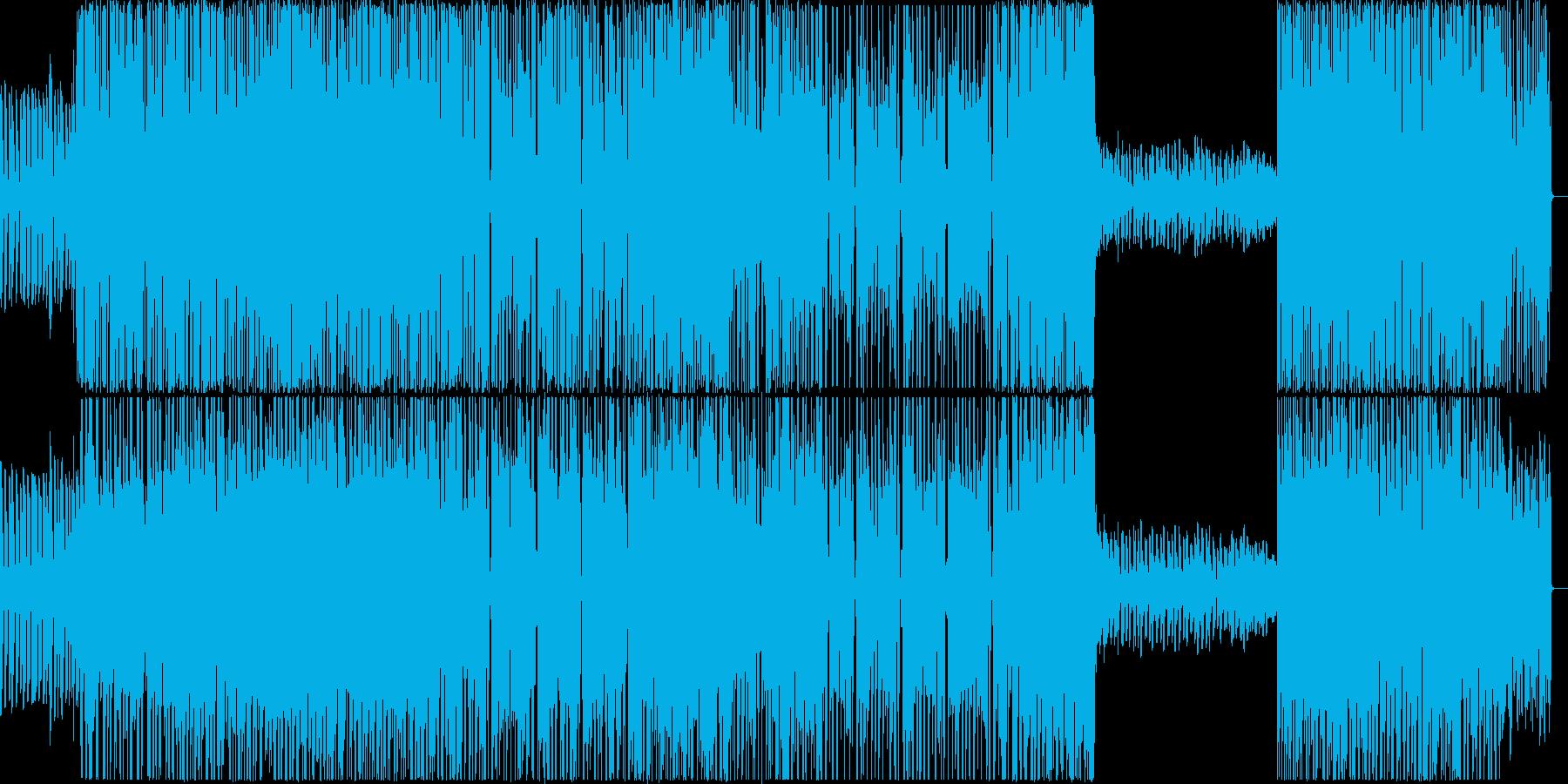 ロック×テクノ ビートと疾走感溢れる曲の再生済みの波形