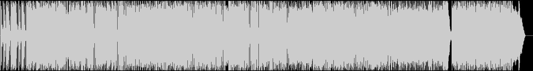 スピーディで迫力のあるロックBGMの未再生の波形