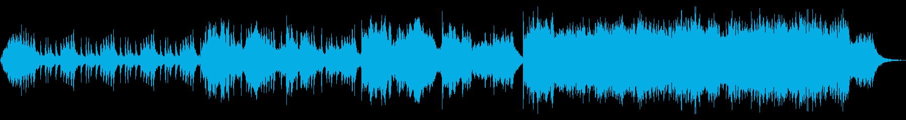 静かに盛り上がる管弦曲の再生済みの波形