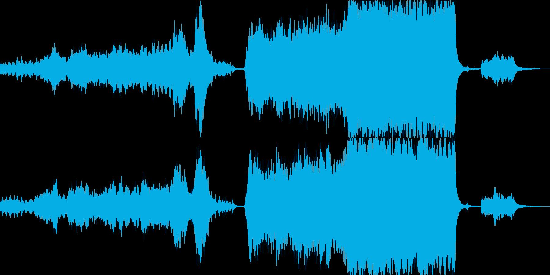 重いエピックオーケストラと蓮の花の再生済みの波形