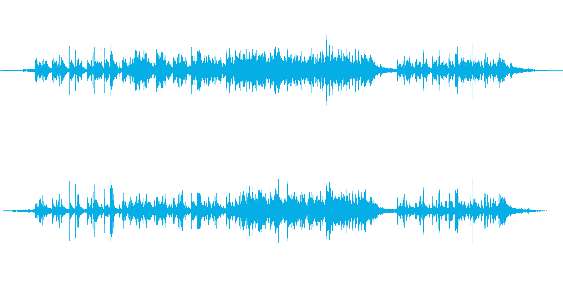 リラックス効果大の自然音とピアノとボイスの再生済みの波形
