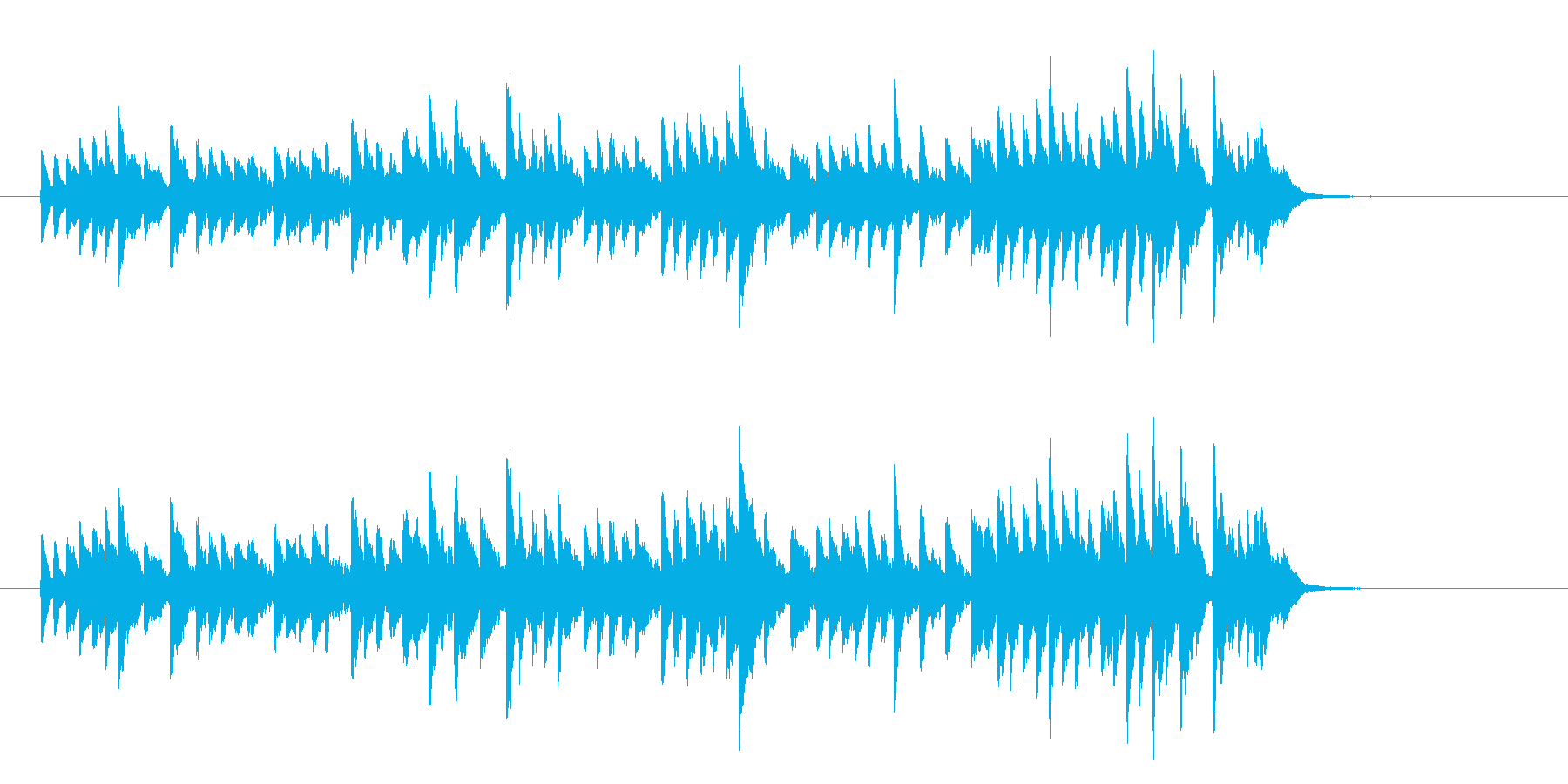 オープニングの幕開け用30秒のベルBGMの再生済みの波形