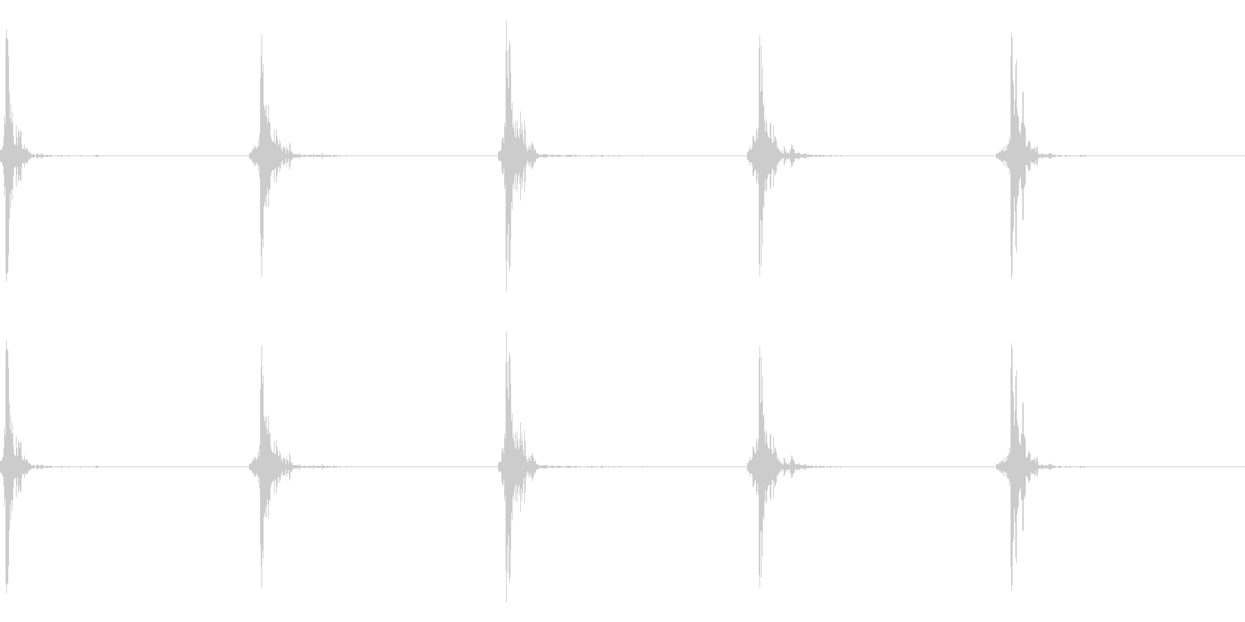 神楽鈴(小)を手に当てて鳴らした音の未再生の波形
