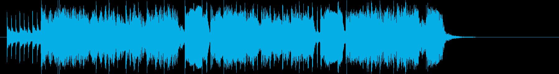 ギターとドラムのアップテンポのポップスの再生済みの波形