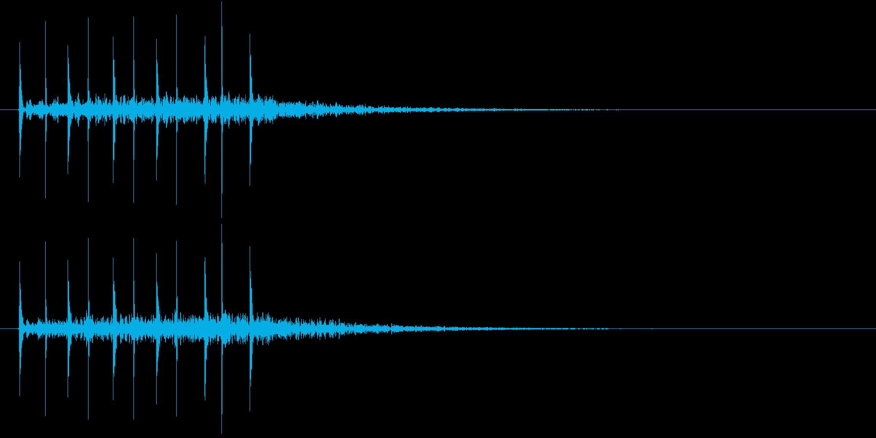 「トンテン・・」連打した石と石+リバーブの再生済みの波形