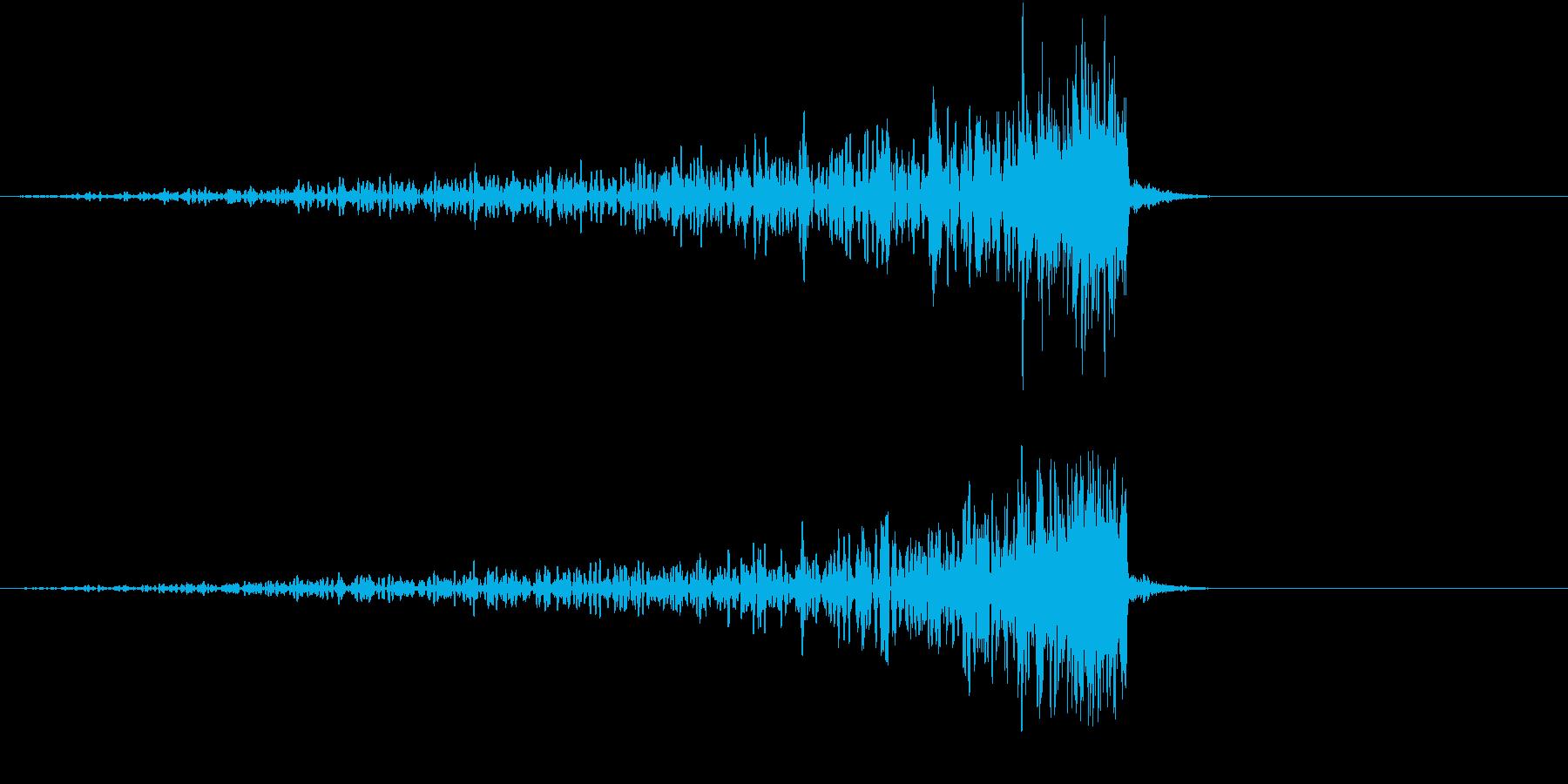 反作用によって生まれた音の再生済みの波形