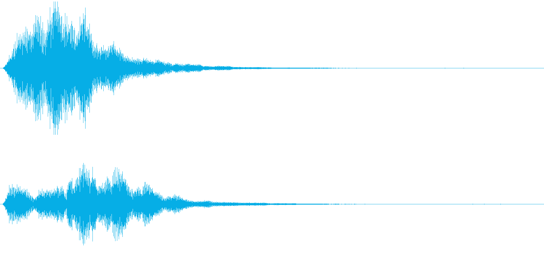 ファーーーン、ポワーーーン、やわらかい音の再生済みの波形