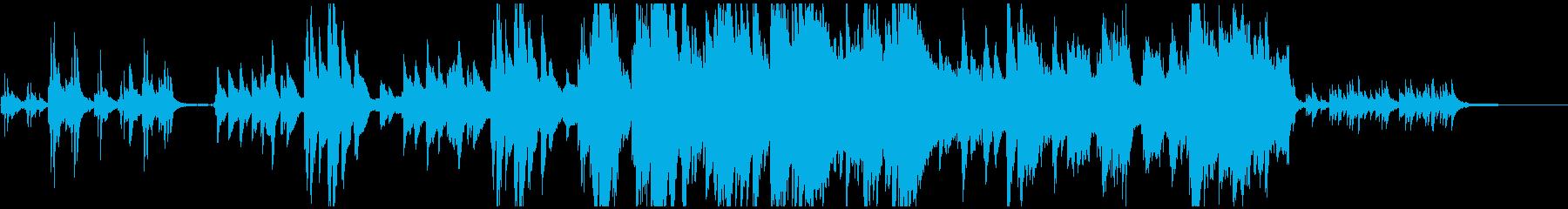 感動的な場面を演出するピアノ主体のBGMの再生済みの波形